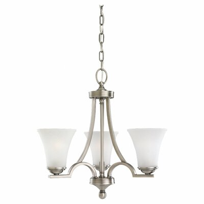 Bushmills 3-Light Shaded Chandelier Finish: Antique Brushed Nickel, Bulb Type: Incandescent A19 100W