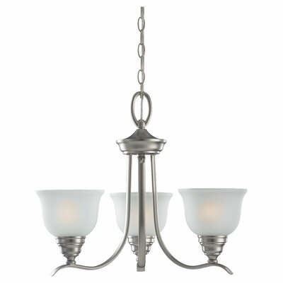 Busti 3-Light Shaded Chandelier Finish: Brushed Nickel, Bulb Type: 100W Medium