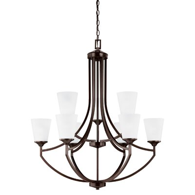 Elkton 9-Light Shaded Chandelier Finish: Burnt Sienna