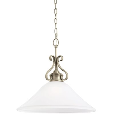 Culley 1-Light Inverted Pendant Finish: Antique Brushed Nickel, Shade Color: Satin Etched