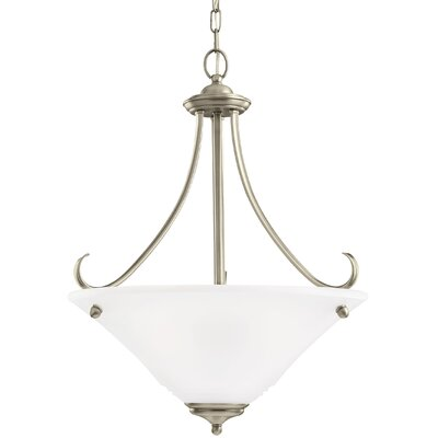 Culley 3-Light Bowl Pendant Finish: Antique Brushed Nickel, Shade Color: Satin Etched