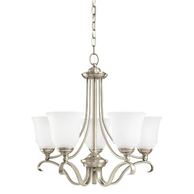 Culley 5-Light Shaded Chandelier Finish: Antique Brushed Nickel, Shade Color: Satin Etched