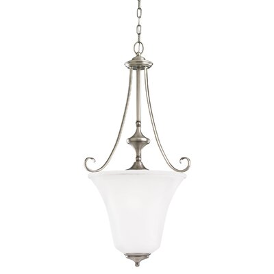 Culley 3-Light Foyer Pendant Finish: Antique Brushed Nickel, Shade Color: Satin Etched