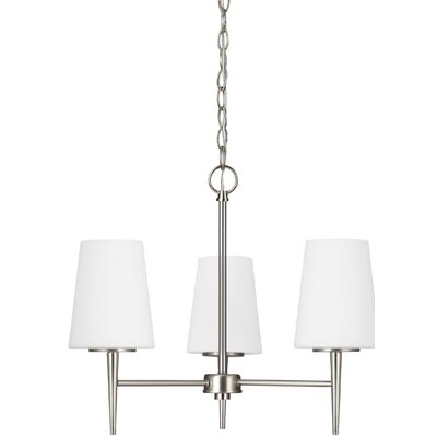 Moorcroft 3-Light Shaded Chandelier Finish: Brushed Nickel