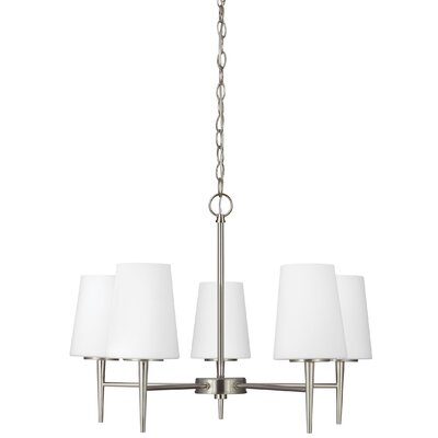 Moorcroft 5-Light Shaded Chandelier Finish: Brushed Nickel