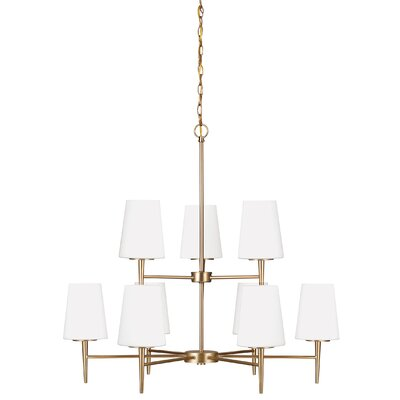 Moorcroft 9-Light Shaded Chandelier Finish: Satin Bronze