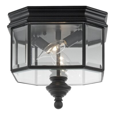 Burrell 2-Lights Outdoor Flush Mount Finish: Black