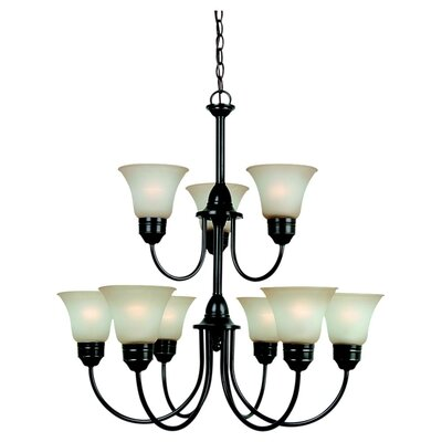 Burkes 9-Light Shaded Chandelier Bulb Type: 100W Medium, Finish: Heirloom Bronze