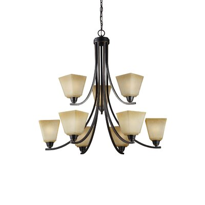 Varian 9-Light Shaded Chandelier Finish / Shade Color: Brushed Nickel / White