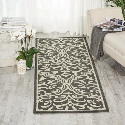 Hockenberry Hand-Hooked Wool Gray/Ivory Area Rug Rug Size: 39 x 59