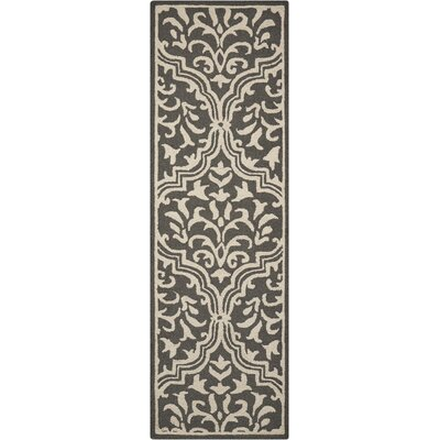 Hockenberry Hand-Hooked Wool Gray/Ivory Area Rug Rug Size: Runner 23 x 76
