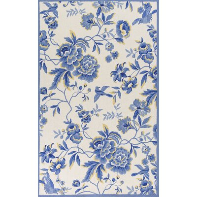 Chase Hand-Hooked Ivory/Blue Area Rug Rug Size: Rectangle 5 x 76