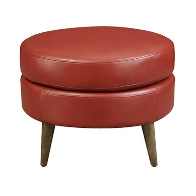 Chowdhury Round Ottoman Upholstery: Red