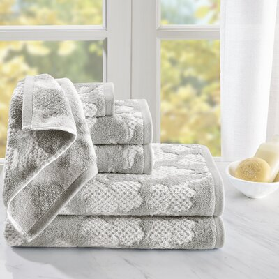 Cotton Jacquard 6 Piece Towel Set Color: Gray