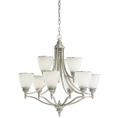 Westerville 9-Light Shaded Chandelier Finish: Antique Brushed Nickel