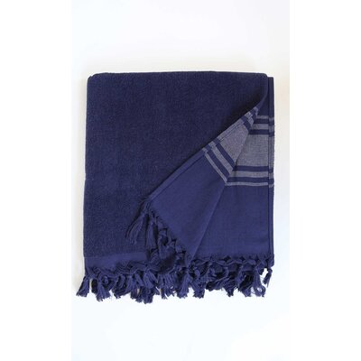 Hudgens Bath Sheet Color: Navy