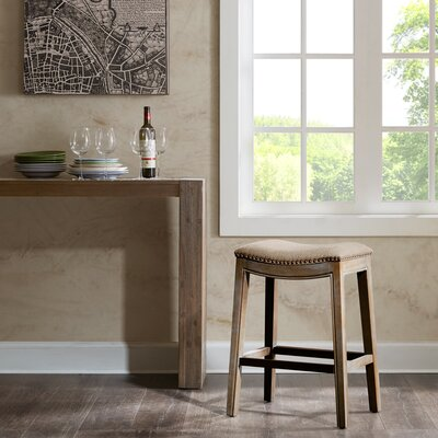 Henninger Bar Stool Upholstery: Sand, Finish: Natural, Nailhead Finish: Copper