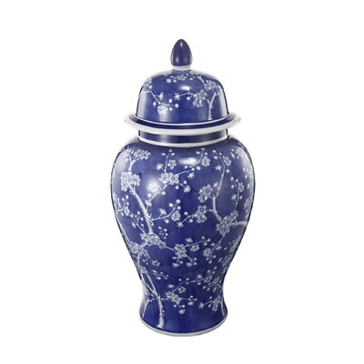 Decorative Lidded Jar Size: 18 H x 9.5 W x 9.5 D
