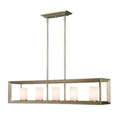 Thorne Modern 5-Light Kitchen Island Pendant Finish: White Gold, Shade Color: White Glass