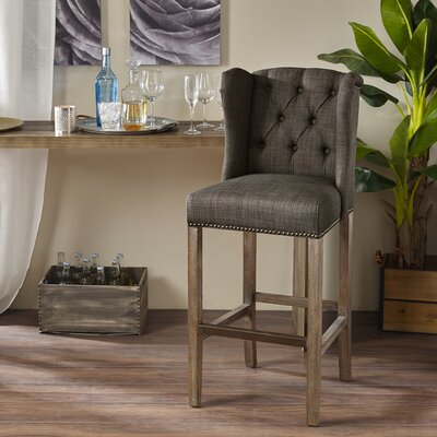 Bluebird 30� Bar Stool with Cushion Finish: Gray