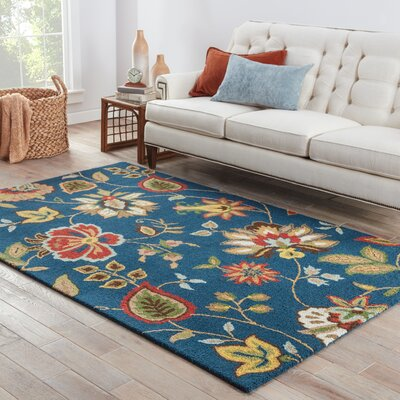 Gradall Hand-Tufted Wool Blue Area Rug Rug Size: 5 x 8