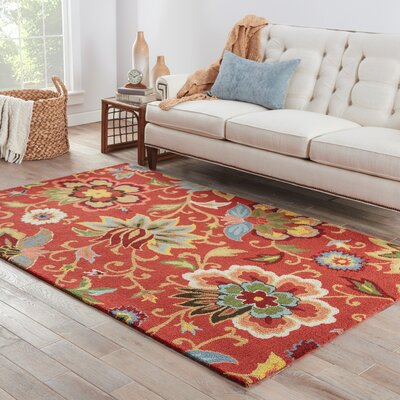 Gradall Hand-Tufted Wool Red Area Rug Rug Size: Rectangle 36 x 56