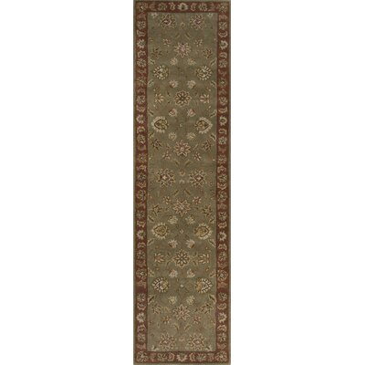 Grady Green/Red Area Rug Rug Size: Round 8 x 8