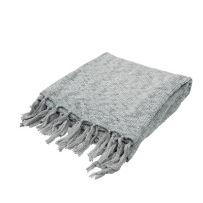 Grassmere Handloom Transitional Cotton Throw Blanket Color: Blue