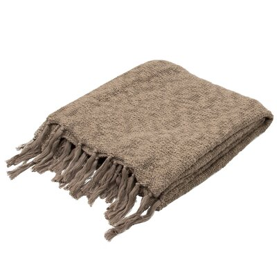 Grassmere Handloom Transitional Cotton Throw Blanket Color: Brown