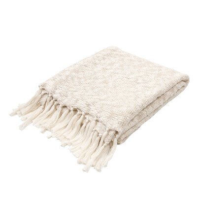 Grassmere Handloom Transitional Cotton Throw Blanket Color: Ivory / White