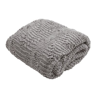 Greta Handloom Transitional Cotton Throw Blanket Color: Gray