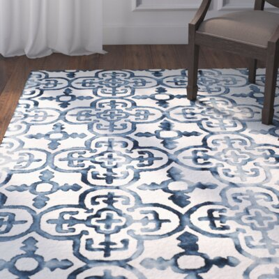Naples Park Hand-Tufted Ivory/Navy Area Rug Rug Size: Rectangle 8 x 10