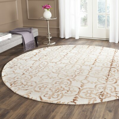 Kinzer Hand-Tufted Ivory & Camel Area Rug Rug Size: Round 7 x 7