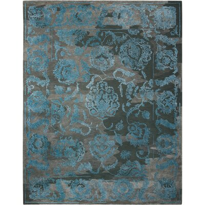Hadley Hand-Woven Charcoal/Blue Area Rug Rug Size: 39 x 59