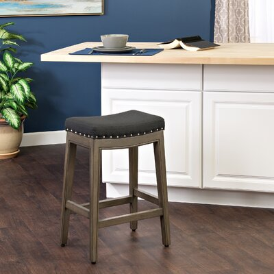 Windham Bar Stool with Cushion Finish: Patina Gray, Upholstery Color: Black Navy