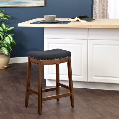 Windham Bar Stool with Cushion Finish: Mid-Tone Walnut, Upholstery Color: Blue Graphite