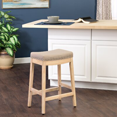 Windham Bar Stool Finish: White Washed, Upholstery Color: Putty