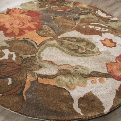 Gustin Brown/Orange Area Rug Rug Size: Round 10