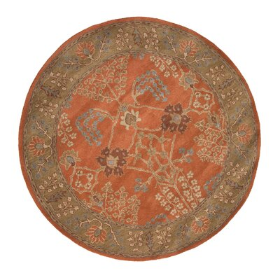Gwendoline Chambery Orange Rust & Gold Brown Area Rug Rug Size: Round 8