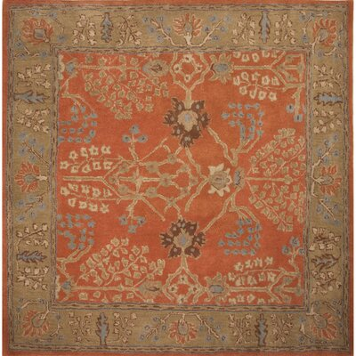 Gwendoline Chambery Orange Rust & Gold Brown Area Rug Rug Size: Square 6