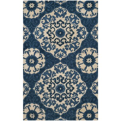 Baumgartner Hand-Tufted Blue/Ivory Area Rug Rug Size: Rectangle 5 x 8