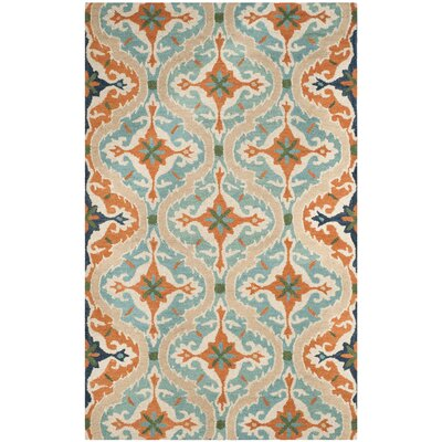 Agustine Hand-Tufted Blue/Beige/Brown Area Rug Rug Size: 4 x 6