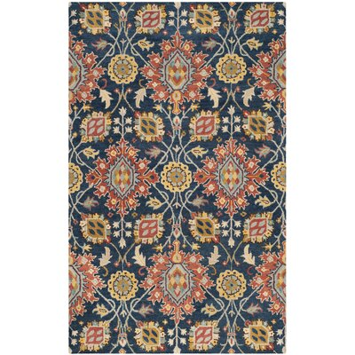 Baumgartner Hand-Tufted Navy/Orange/Yellow Area Rug Rug Size: Rectangle 6 x 9