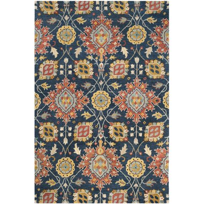 Baumgartner Hand-Tufted Navy/Orange/Yellow Area Rug Rug Size: 5 x 8