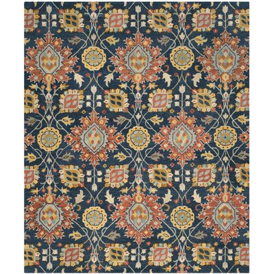 Baumgartner Hand-Tufted Navy/Orange/Yellow Area Rug Rug Size: 8 x 10