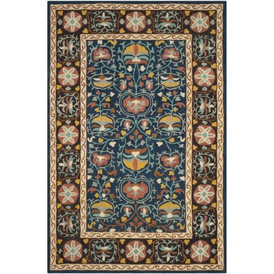 Baumgartner Hand-Tufted Blue/Red/Brown Area Rug Rug Size: Rectangle 4 x 6