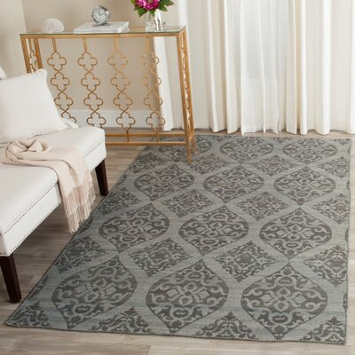 Jacobson Hand-Woven Dark Gray Area Rug Rug Size: Rectangle 5 x 8