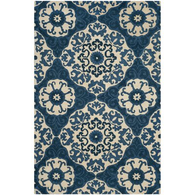 Baumgartner Hand-Tufted Blue/Ivory Area Rug Rug Size: Rectangle 6 x 9