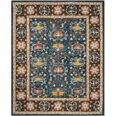 Baumgartner Hand-Tufted Blue/Red/Brown Area Rug Rug Size: Rectangle 6 x 9