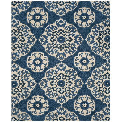 Baumgartner Hand-Tufted Blue/Ivory Area Rug Rug Size: Rectangle 8 x 10